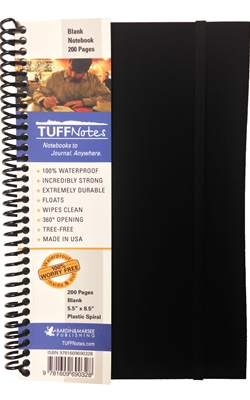 TUFFNotes waterproof spiral notebook - Black Blank